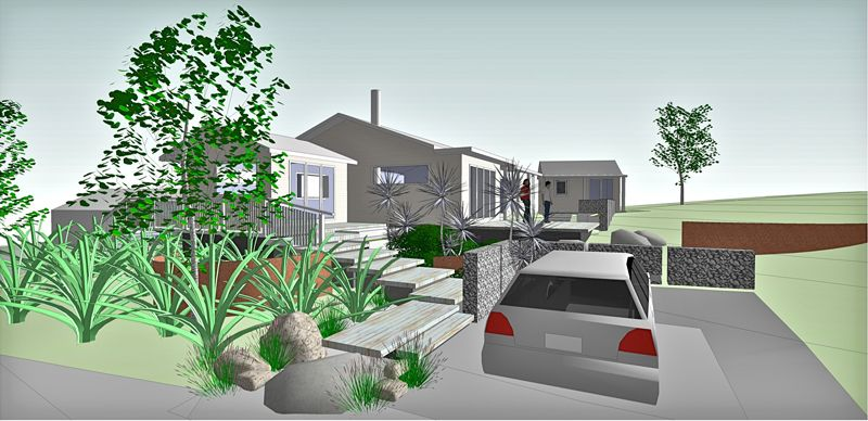 Country cottage landscape design with 3d animation gunn for Landscape design christchurch nz