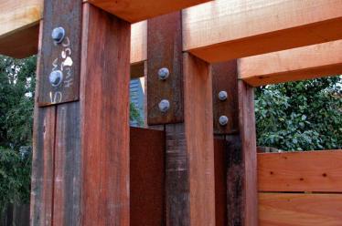 Recycled Jarrah pergola construction detail