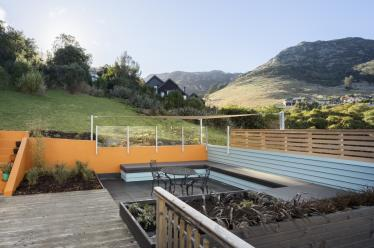 Outdoor seating and views to the Port Hills