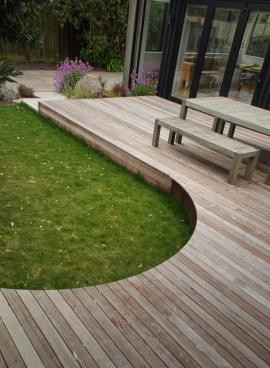 Curved deck and lawn