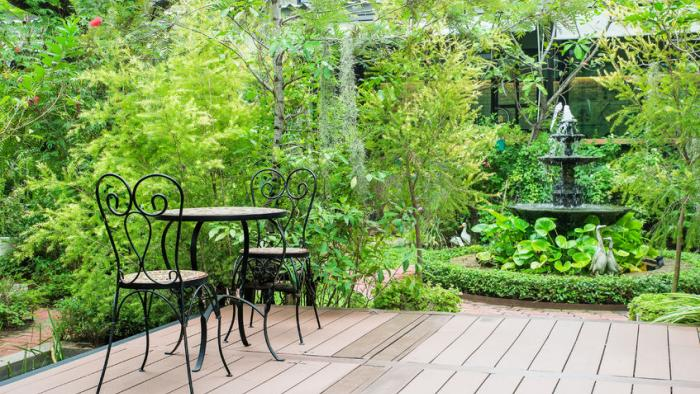 View of a garden deck that would be much more appealing to relax than to work in the garden