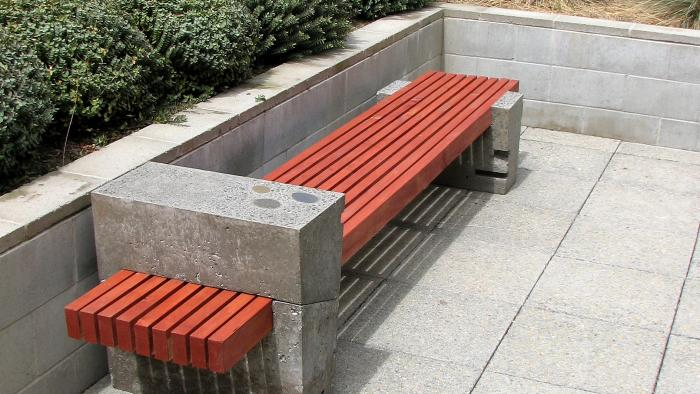Polished concrete and timber slat bench seat