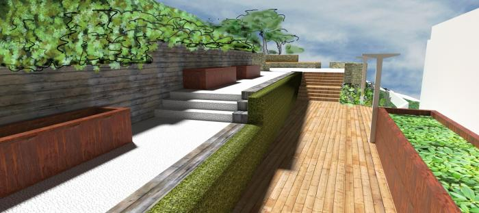Proposed deck and Corten planters