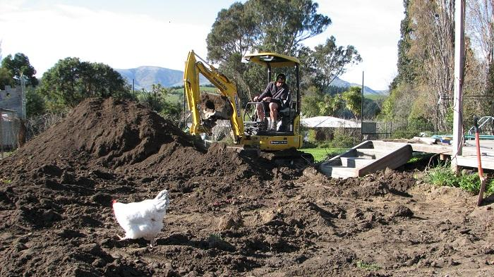 Excavating levels for the potager garden