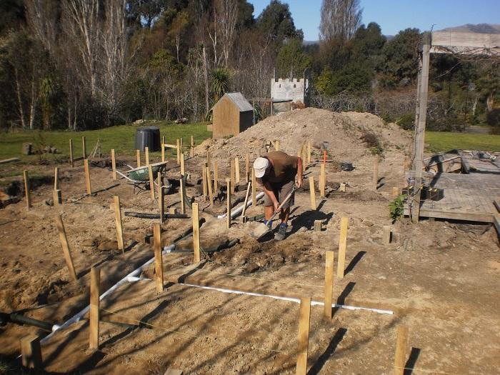 Putting in the drainage for the potager garden
