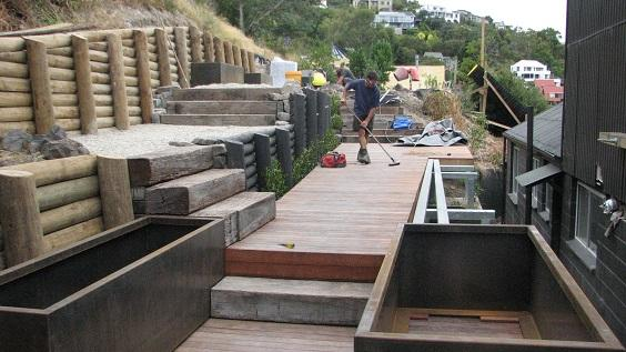 Constructing a deck on a steep hillside christchurch for Landscape design christchurch nz